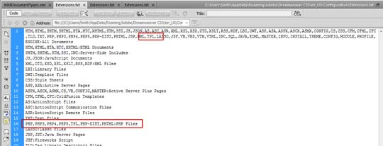 Checking to Make Sure That The TPL and INC File Extensions Exist in Dreamweaver Extensions.txt File