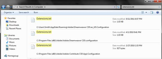 C:\Users\%USER%\AppData\Roaming\Adobe\Dreamweaver CS5\en_US\Configuration, C:\Program Files (x86)\Adobe\Adobe Dreamweaver CS5\configuration, C:\Program Files (x86)\Adobe\Adobe Contribute CS5\App\Configuration