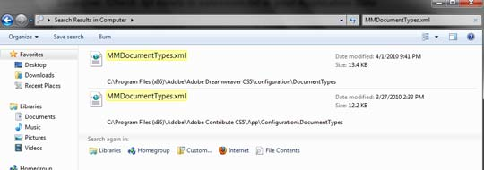 C:\Program Files (x86)\Adobe\Adobe Dreamweaver CS5\configuration\DocumentTypes, C:\Program Files (x86)\Adobe\Adobe Contribute CS5\App\Configuration\DocumentTypes