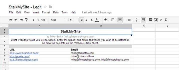 Screenshot of Enter Information Tab of StalkMySite