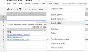 Screenshot of Script Editor Menu Option in StalkMySite
