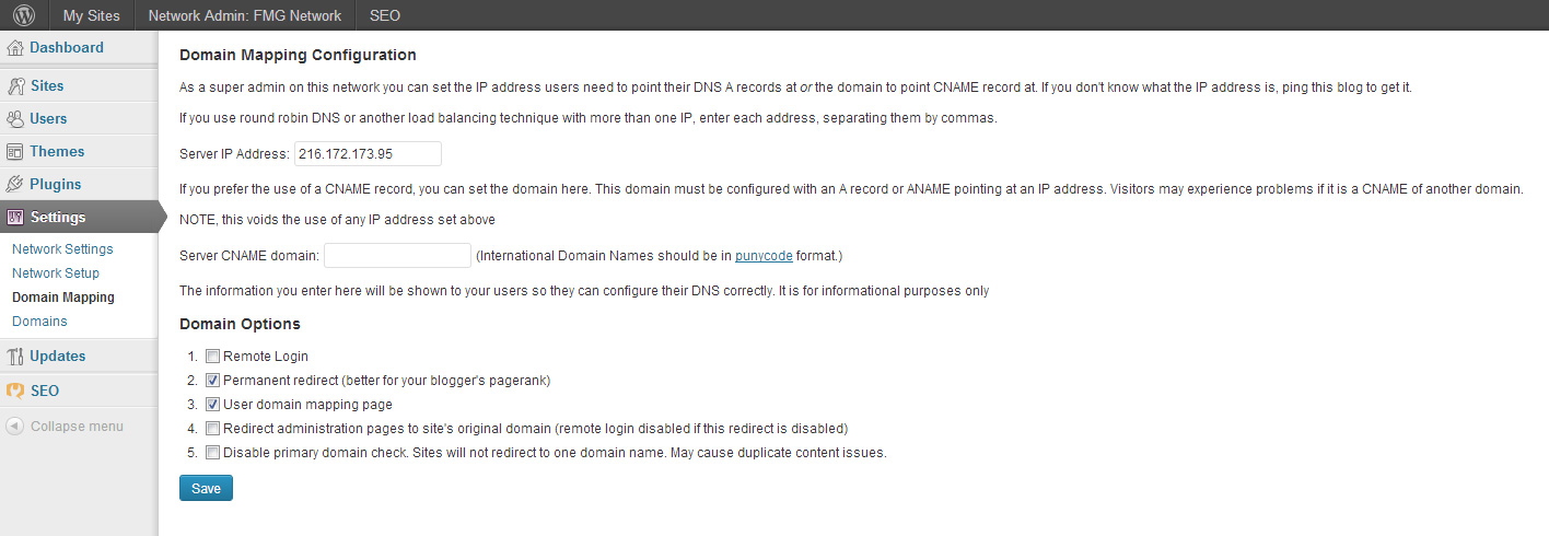 Screenshot of the WordPress MU Domain Mapping Plugin with Frontera Marketing Group's live settings